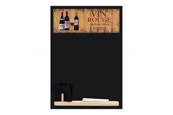 (Vin Rouge) - Chalkboards UK Small Memo Board/Chalkboard/Blackboard/Kitchen Chalk Board with Printed Vin Rouge Artwork, Wooden Tray, Piece of chalk & Felt Eraser. Booth Design Range., Wood, Black, 29.7 x 20.7 x 1 cm