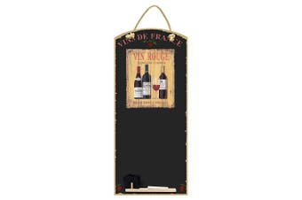 (Vin Rouge) - Chalkboards UK Vin Rouge Tall Thin Chalkboard/Blackboard/Memo Kitchen Board with Rope, Tray and Chalk. Booths Design Range, Wood, Black, 60 x 26.5 x 1 cm