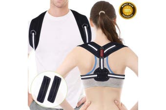 (Black, S/M) - Posture Corrector, Acdyion Back Support Belt Adjustable Size Straight Strap for Women and Men Shoulder Back Strap to Fix Slouching and Hunching Back (Black, S/M: 80cm - 100cm )