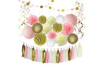 (pink two) - Pink and Gold Birthday Decorations, Pom Poms Flowers ,Paper Garland, Paper lantern, Tassels, Hanging Swirl for 1st Birthday Girl Decorations Kids Birthday Bridal Shower Baby Shower by Litaus