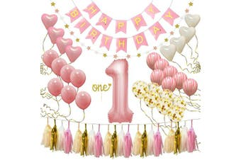 "1st Birthday Girl Decorations & Party Supplies | Happy Birthday Banner, ""One"" Cake Topper, Star Garland, First Baby 2.5cm Balloon, Marble Pink, Gold Confetti, Heart Balloons, Paper Tassels 