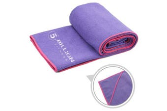 (purple) - 5BILLION Yoga Towel Yoga Mat Towel Microfiber Towel - 180cm X 60cm - Perfect Size Mat - Non Slip,Fast Drying,Sweat Absorbent & Machine Washable Free Carry Bag