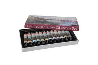 (Set, Set of 12 Assorted Oil Greys) - 12 Shades of Grey Artist Oil Colours Highly Pigmented Triple Milled Rich Subtle Greys From The Tube - Set of 12 - 12 ml Tube - Assorted Colours