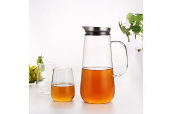 HOMFA Glass Pitcher 1500ml Water Milk Juice Ice Tea Jug with Stainless Steel Lid and 2 Cups