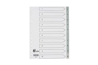 5 Star elite 940244 File Index Polypropylene Tab - White/Grey