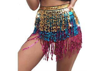 (One size, Multicolor) - Best Dance Zumba Belly Dance Costume Sequin Tassel Fringe Hip Scarf Belt Waist Wrap Skirt