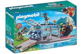 (One Size) - Playmobil Dinos 9433 Enemy Airboat with Raptors, floatable for Children Ages 4+