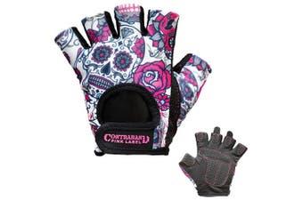 (Large, Pink) - Contraband Pink Label 5237 Womens Design Series Sugar Skull Lifting Gloves (Pair) - Lightweight Vegan Medium Padded Microfiber Amara Leather w/Griplock Silicone