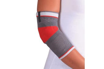 (L, Gray/Red) - ORTONYX Tennis Elbow Support Brace Compression Sleeve - L Grey/Red