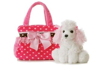 (Multi) - Aurora World Fancy Pals Plush Pink Polka Dot Purse Pet Carrier with Dog