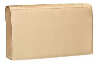 (Gold) - Annah Beautiful Satin Elegant Pleated Envelope Clutch Bag Shoulder Bag Vintage Wedding Party Prom Evening Bag - SWANKYSWANS