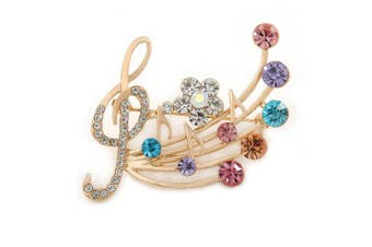 Avalaya Gold Plated Multicoloured Crystal Musical Notes Brooch - 45mm L