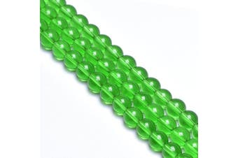 (6mm, Green) - 6mm Green Glass Beads for Jewellery Making Round Glass Spacer Gem Beads for Diy Bracelets,Glass Beads for Vase (Approx.60pcs)
