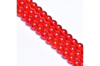 (6mm, Red) - 6mm Red Glass Beads for Jewellery Making Round Glass Spacer Gem Beads for Diy Bracelets,Glass Beads for Vase (Approx.60pcs)
