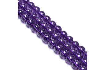(6mm, Purple) - 6mm Purple Glass Beads for Jewellery Making Round Glass Spacer Gem Beads for Diy Bracelets,Glass Beads for Vase (Approx.60pcs)