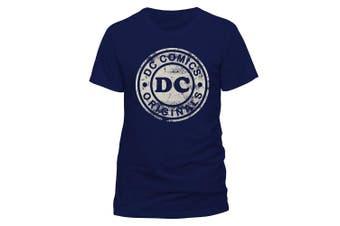 (Small, Blue (Navy)) - CID Men's Dc Originals-Distressed Logo T-Shirt