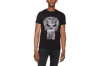 (Large, Black) - CID Men's The Punisher-Shatter Skull T-Shirt