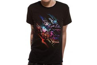 (Small, Black) - CID Men's valerian-Neon Poster T-Shirt