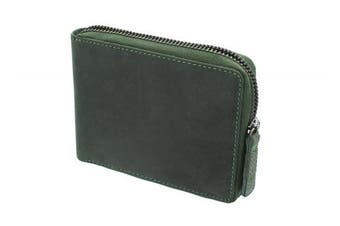 (Oil Green) - Visconti Hunter Zip Round Oiled Leather BULLET Wallet 702 Oil Green