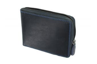 (Oil Blue) - Visconti Hunter Zip Round Oiled Leather BULLET Wallet 702 Oil Blue