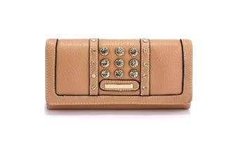 (Nude) - Womens Medium Size Purse Ladies Wallet With Card Slots and Flap