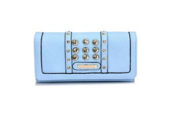 (Blue) - Womens Medium Size Purse Ladies Wallet With Card Slots and Flap