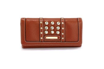 (Brown) - Womens Medium Size Purse Ladies Wallet With Card Slots and Flap