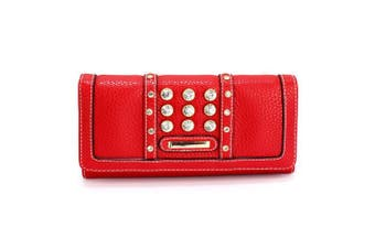(Red) - Womens Medium Size Purse Ladies Wallet With Card Slots and Flap