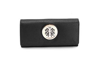 (Black) - Womens Medium Size Purse Ladies Wallet With Card Slots and Flap
