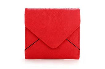(Red) - Womens Small Purse Ladies Wallet Trifold Envelop Flap With Card Slots