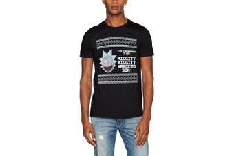 (Large, Black) - CID Men's Rick & Morty-T'Is The Season T-Shirt