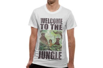 (Small, White (White White)) - CID Men's Book-Welcome to The Jungle T-Shirt