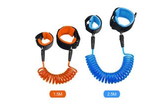 (Blue 2.5m Orange 1.5m) - Blisstime Anti Lost Wrist Link Safety Wrist Link for Toddlers, Babies & Kids