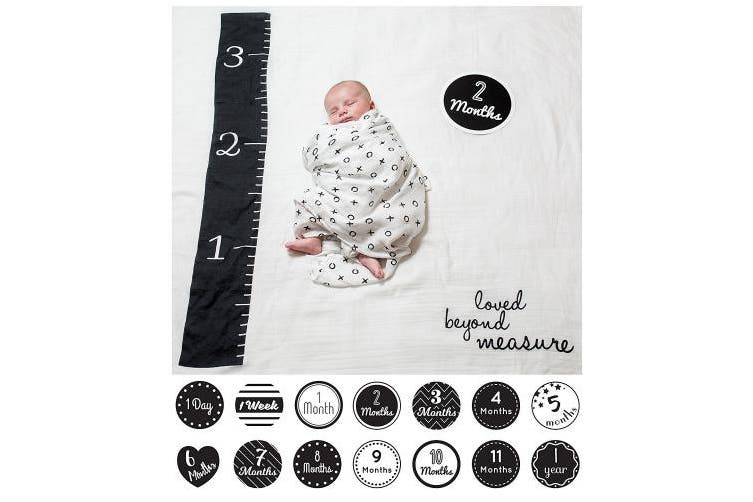 (Loved Beyond Measure) - lulujo Baby Baby's First Year Milestone Blanket and Cards Set, Loved Beyond Measure