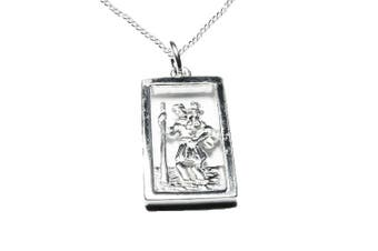Men's 925 Sterling Silver St Christopher Oblong Pendant and Belcher Chain - Traveller's Protection