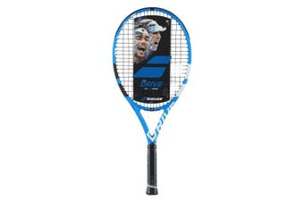 (10cm  Inch Grip, Pink String) - Babolat Pure Drive 25 Junior Blue/White Tennis Racquet Strung with Custom Racket String Colours