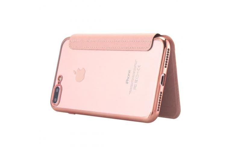 (Rose Gold) - Snewill Compatible iPhone 8 Plus Case,iPhone 7 Plus Case,[Ultra Slim] PU Leather Folio Flip Wallet Case with Card Slot Clear Soft TPU Back Cover for iPhone 8 Plus/iPhone 7 Plus 14cm -Rose Gold