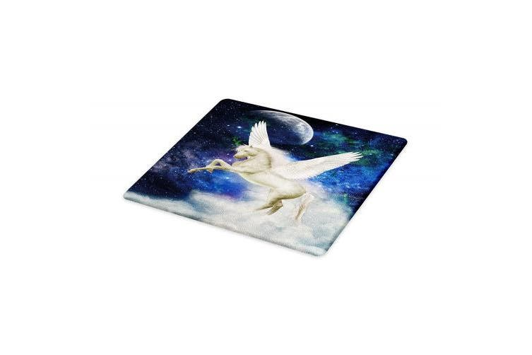 (Small, Multi 1) - Lunarable Modern Cutting Board, Outer Space Star Galaxy Abstract Backdrop with Unicorn Mystical Horse, Decorative Tempered Glass Cutting and Serving Board, Small Size, White and Dark Purple