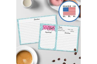 (10cm  x 15cm  (Standard), Notes / From on Back) - 321Done 10cm x 15cm Recipe Cards (Set of 50) - Mason Jar - Thick Double Sided Premium Card Stock - Made in USA - Rustic Pink and Teal, Large Notes From