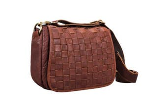 (Cognac - Washed) - STILORD 'Mia' Small Vintage Leather Shoulder Bag for Women Hand-Bag Braided Cross Body Bag Ladies for Shopping Party Freetime in genuine Leather, Colour:cognac - washed