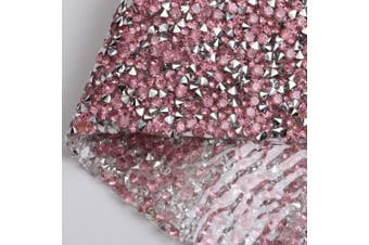 (Pink with Silver) - 240X400mm Crystal AB Epoxy Rhinestone Sheet Banding Bridal Beaded Applique in Sheet for Dresses with 3mm Rhinestones (Pink with Silver)