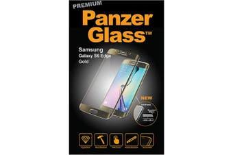 (Samsung Galaxy S6 Edge, Gold) - Panzer Glass PREMIUM Protective Anti Scratch Fluid Resistant Glass Screen Protector Shield for Samsung Galaxy S6 Edge - Gold