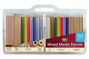 (Mixed Media Pencils, 50 Piece Set) - Art Advantage 50 Piece Mixed Media Pencil Set