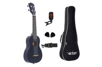 (21 inch Black) - VIVICTORY Soprano Ukulele 50cm Mahogany Aquila String, Beginner Kit Tuner Gig Bag Straps and Picks - Black
