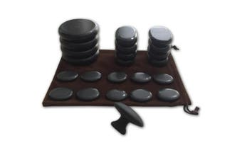 Massage Hot Stones with Mushroom Shaped Massage Guasha Tool, 23 pcs in Total, Basalt Hot Stone for Spa, Massage Therapy, Storage Velvet Bag Included