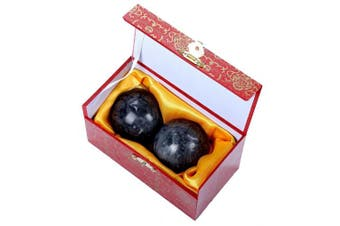 (bag-packed-s) - Dark Grey Marble Jade Baoding Chinese Health Stress Exercise Balls In Natural Stone Colour