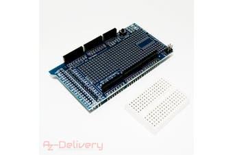 (1) - AZDelivery ATmega2560 100% Arduino compatible R3 Board Prototype Shield with Mini Breadboard including eBook