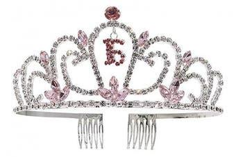 (Pink) - Crystal Rhinestone Sweet 16 Floral Heart Tiara,Pink