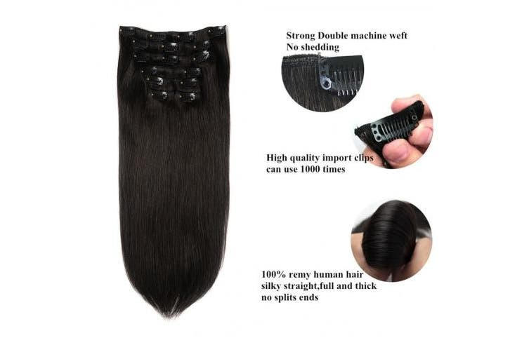 (36cm , #1B) - Lovbite Hair Human Hair Clip on Extensions Double Weft 36cm Brazilian Hair Clip in Hair Extensions 100% Remy Hair Grade 8A 7Pieces/Lot 100g with 16Clips (36cm -80g,Natural Black #1B)