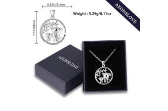 "(Lucky Elephant) - Silver Necklaces for Women, 925 Sterling Silver Lucky Elephants""Family Love"" Tree of Life Claddagh Celtic Knot Pendant Necklace, AEONSLOVE Jewellery 46cm for Mum Women Wife"